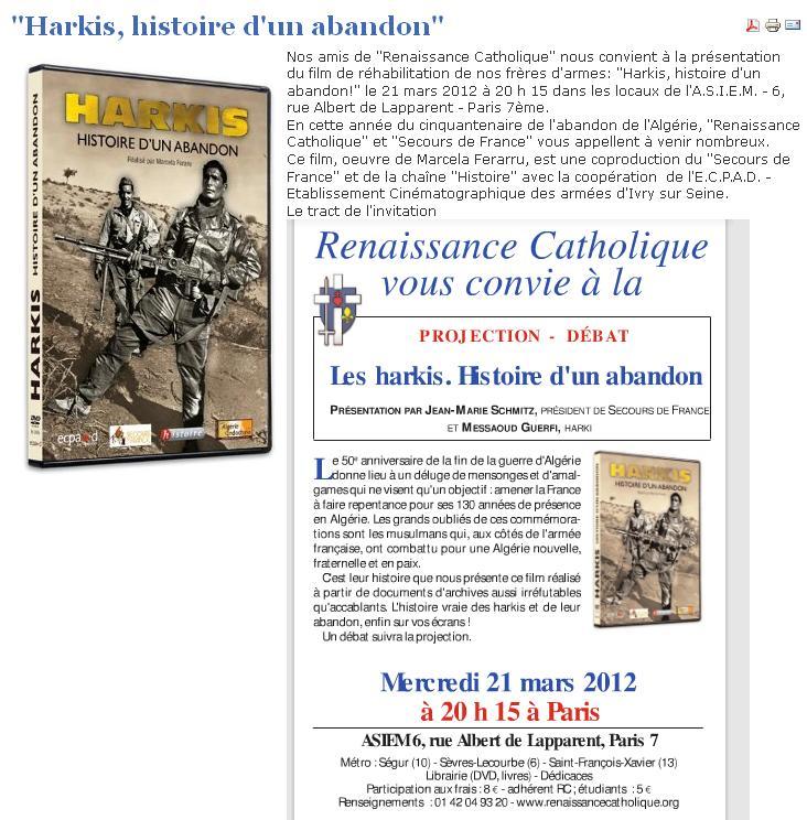 """Projection du documentaire """"Harkis, histoire d'un abandon"""" 2012_065"""