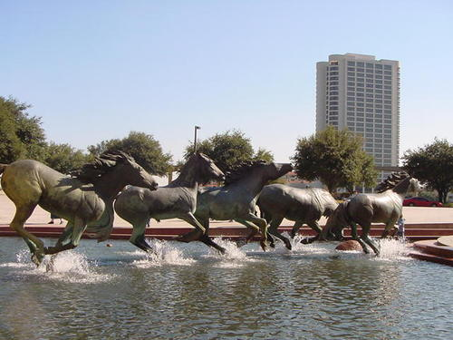 Sculpture de mustangs, Dallas Irving, USA Mustan10