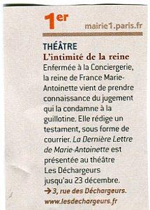 """Au théâtre à Paris, """"La dernière lettre """"  Img26010"""