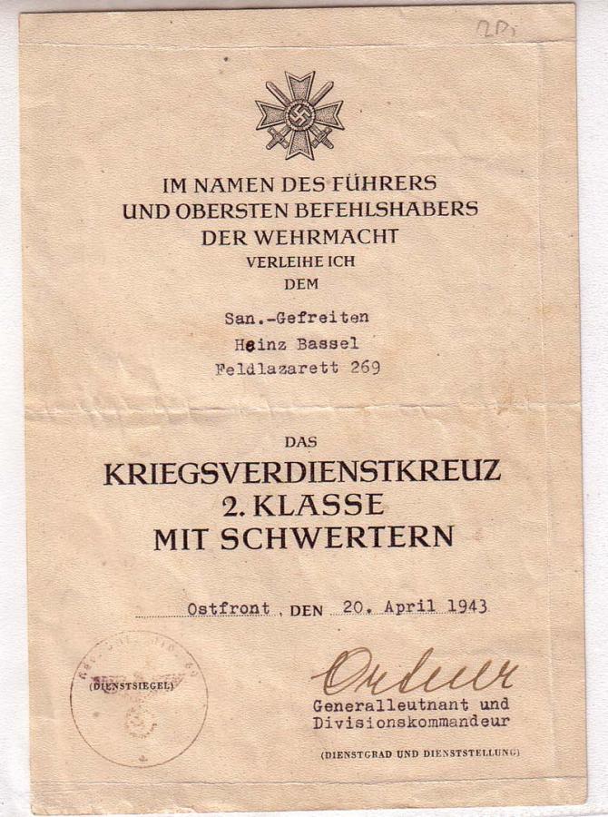 Diplômes allemands WWII, avec signatures d'officiers Généraux Bassel10