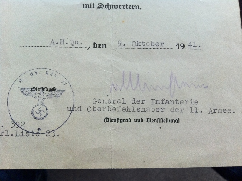 Diplômes allemands WWII, avec signatures d'officiers Généraux Img_0614