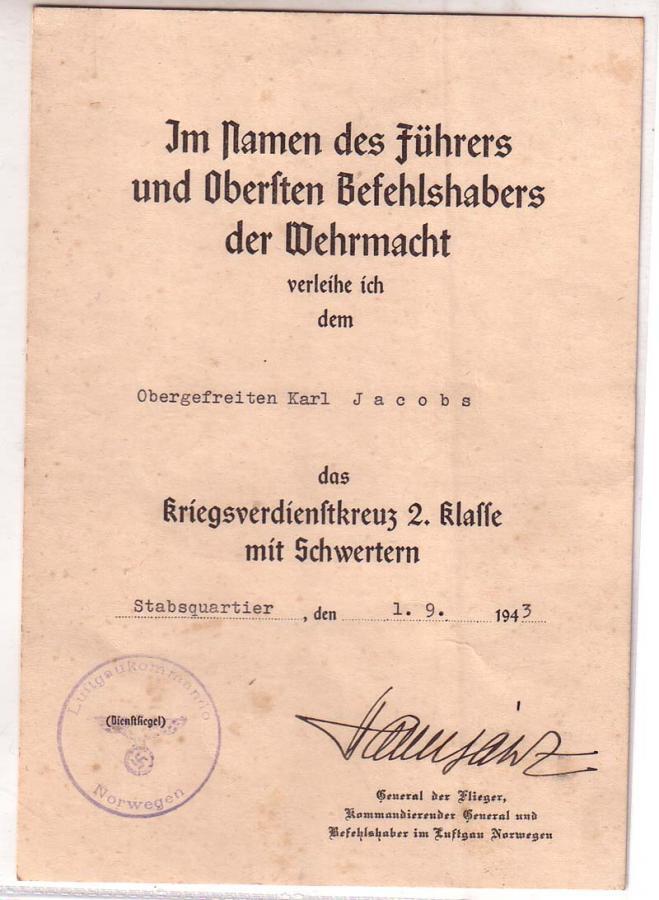 Diplômes allemands WWII, avec signatures d'officiers Généraux Jacobs10