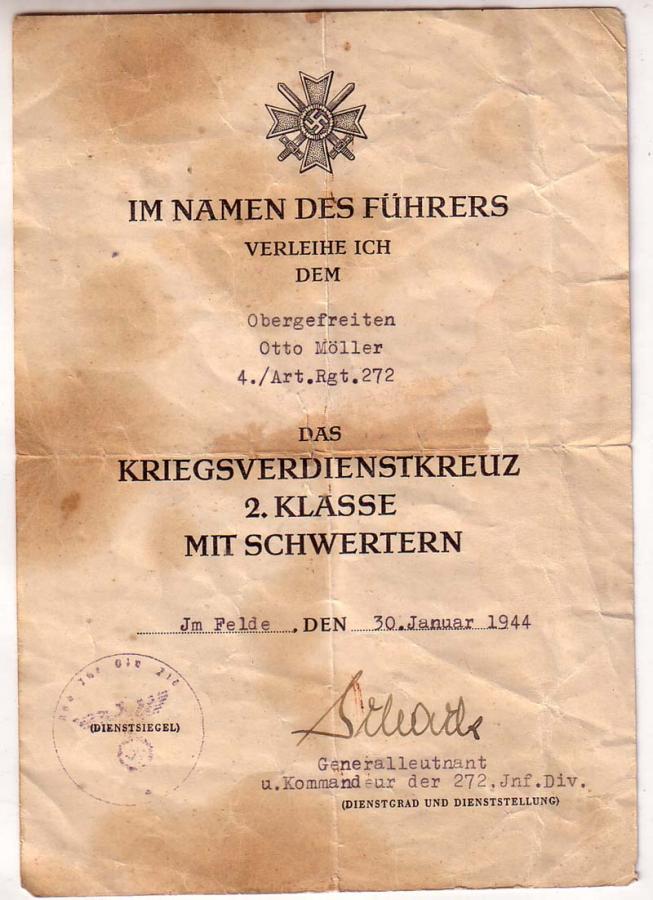 Diplômes allemands WWII, avec signatures d'officiers Généraux Maller10