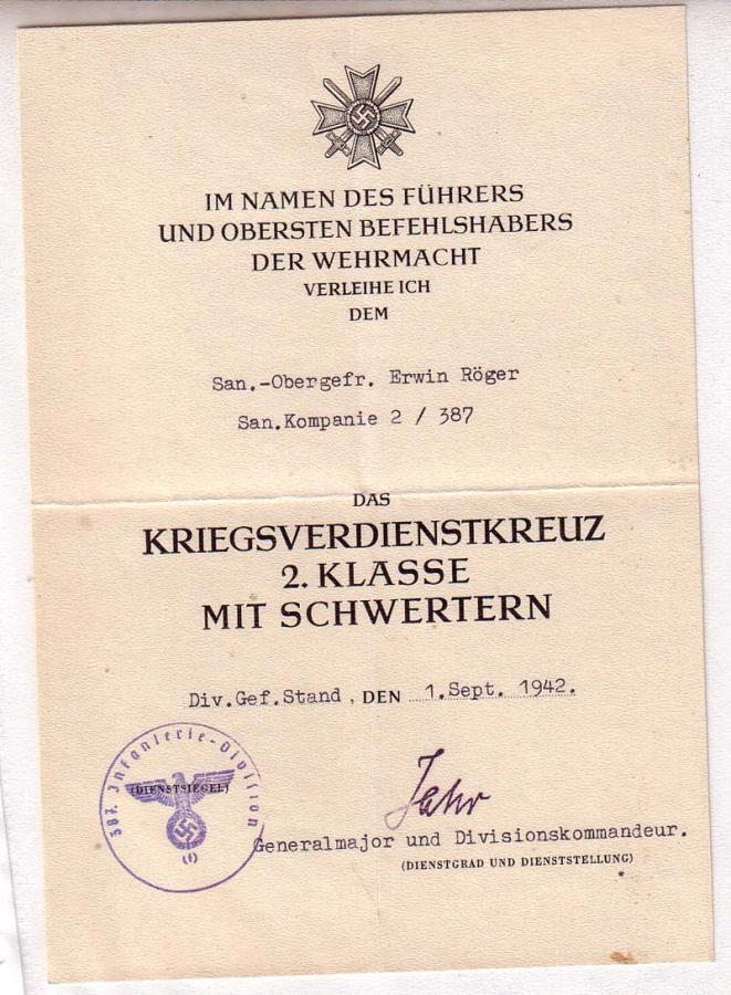 Diplômes allemands WWII, avec signatures d'officiers Généraux Rager_10