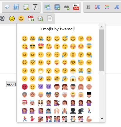 Nieuw : Emoji is nu beschikbaar in de editor Scr218