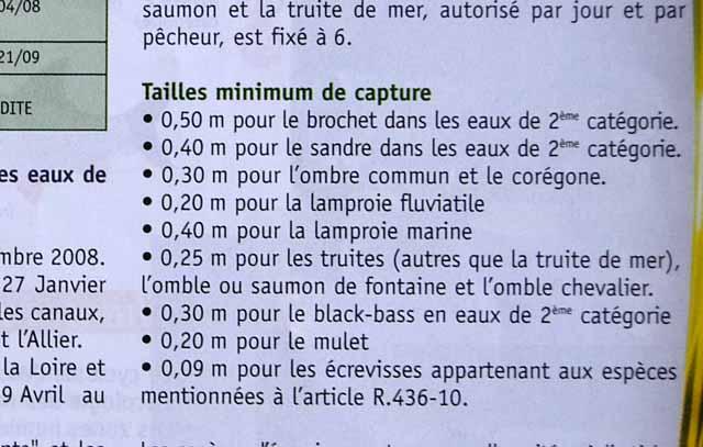 Les tailles légales en France Rivier17