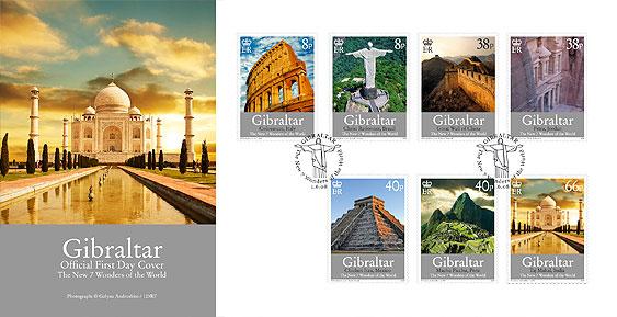 Gibraltar:Les Sept nouvelles merveilles du monde en timbres 345l10