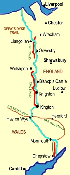 La Digue d'Offa (Offa's Dyke), frontière entre l'Angleterre et le Pays de Galles Offas-11