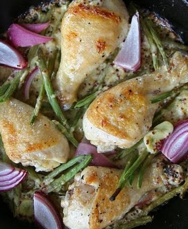 poulet crémeux moutarde avec haricots verts et oignons rouges  Sans_t33