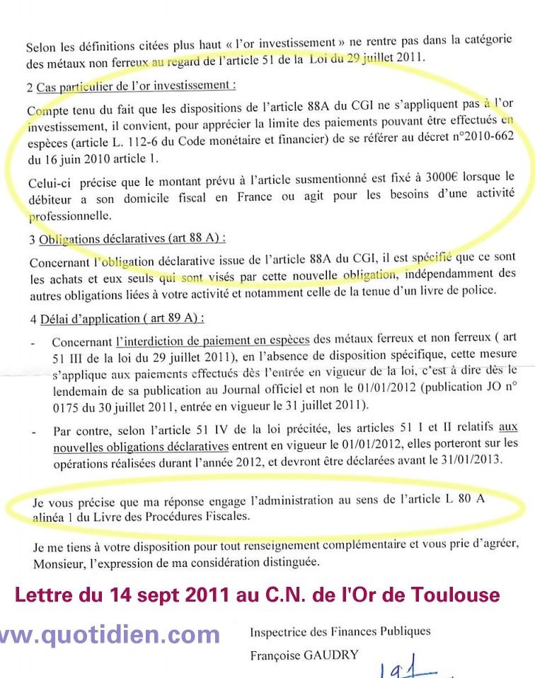 Fiscalité de l'or et de l'argent métal / Législation à connaitre Lagisl10