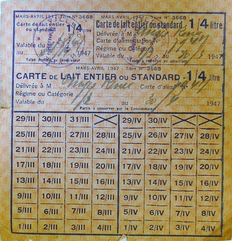Cartes, tickets et bons rationnement - Guerre 39-45 Ticket10