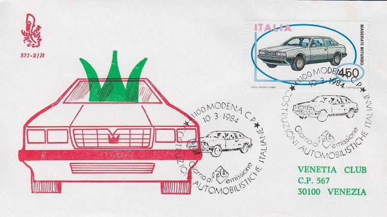 Filatelia, francobollo Italia 1984, Maserati Biturbo  Bustam10