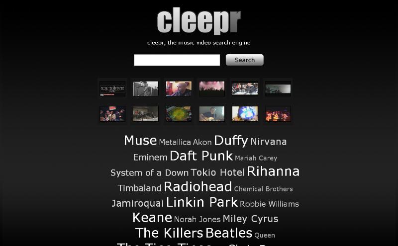moteur de recherche de vidéos musicales Cleepr10