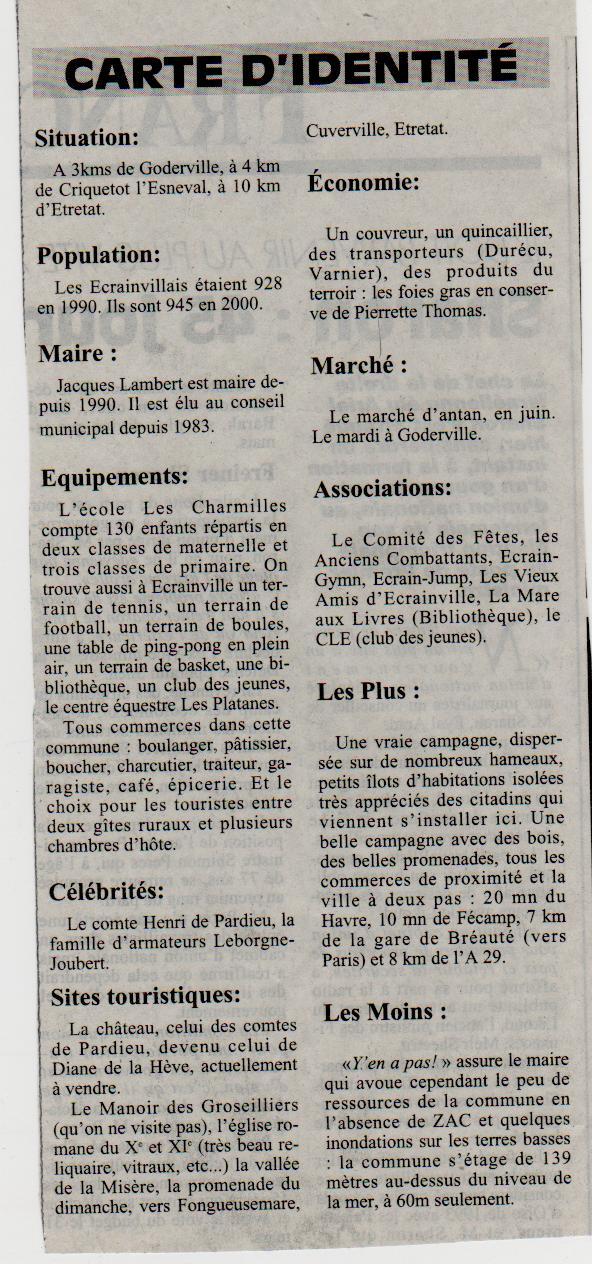 Histoire des communes - Ecrainville Ecrain13