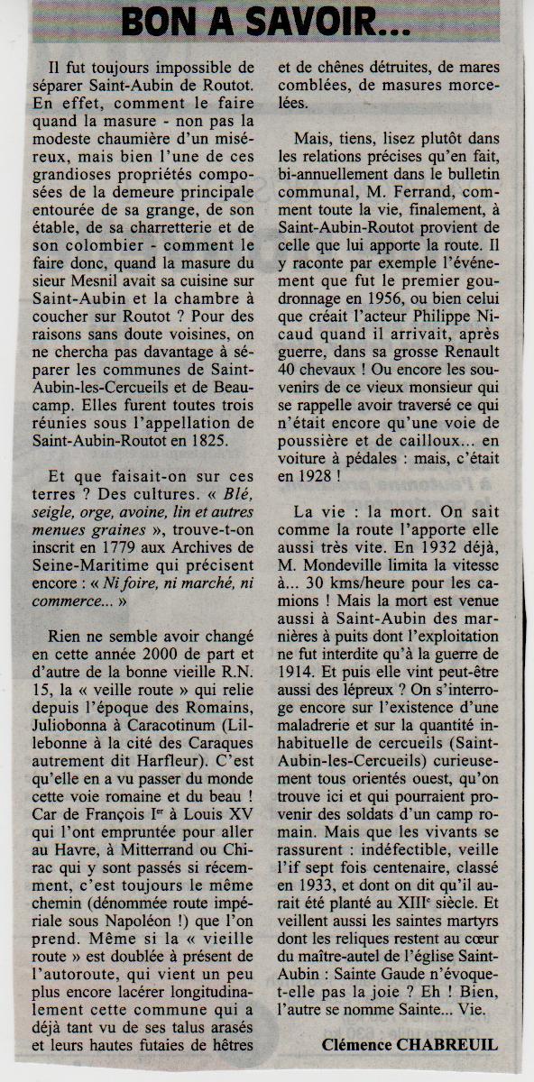 Histoire des communes - Saint-Aubin-Routot Saint-20