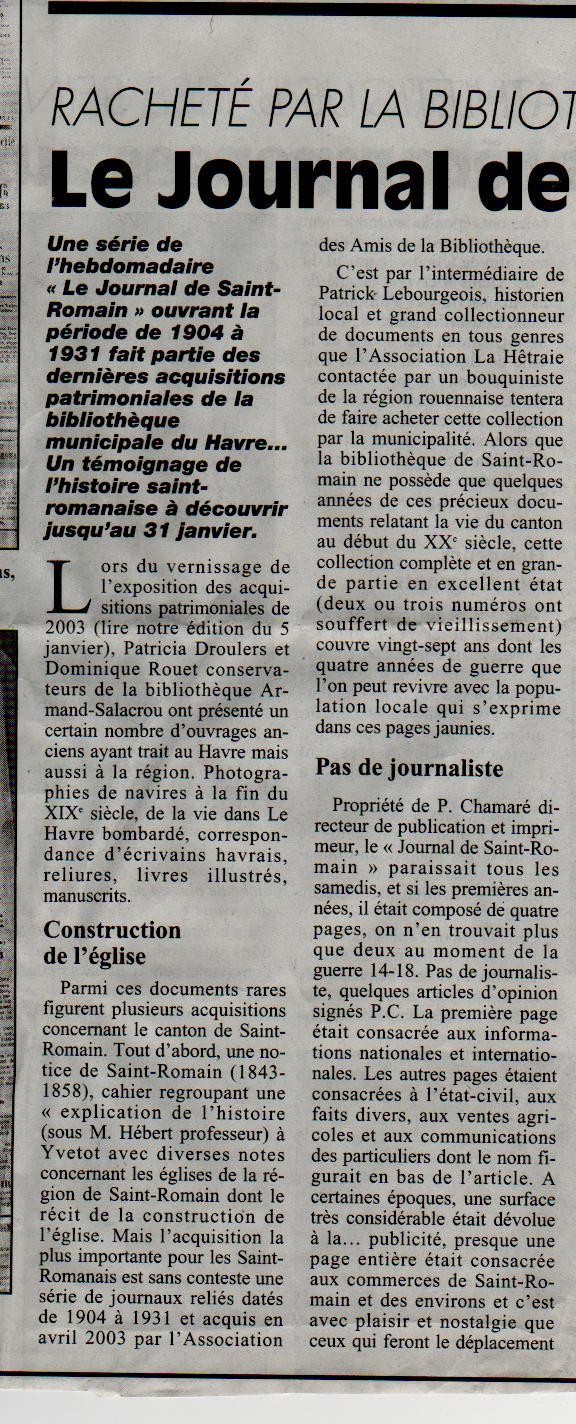 Histoire des communes - Saint-Romain-de-Colbosc Saint-34