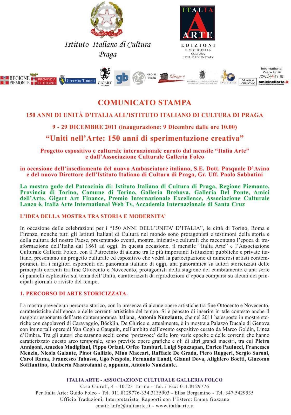 """MOSTRA A PRAGA: """"Uniti nell'Arte: 150 anni di sperimentazione creativa"""" 9-29 Dicembre 2011 2011pr10"""