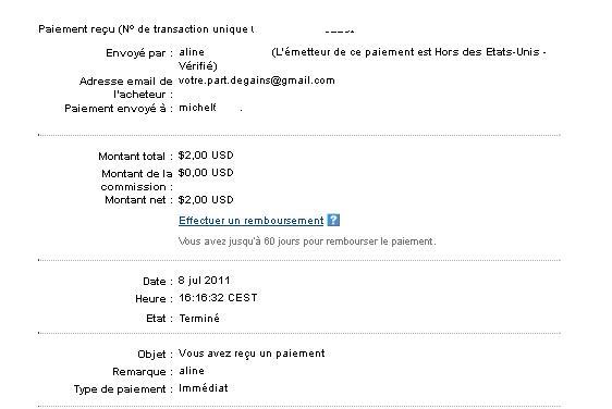 My first payment from votre part de gains Voyrep10