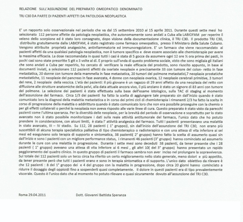 trj-c30 vidatox omeopatico ,studio osservazionale dott.Speranza Ospedale Ostia  Gianni11