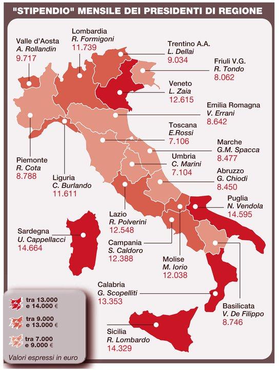regione: stipendi ai presidenti Region10