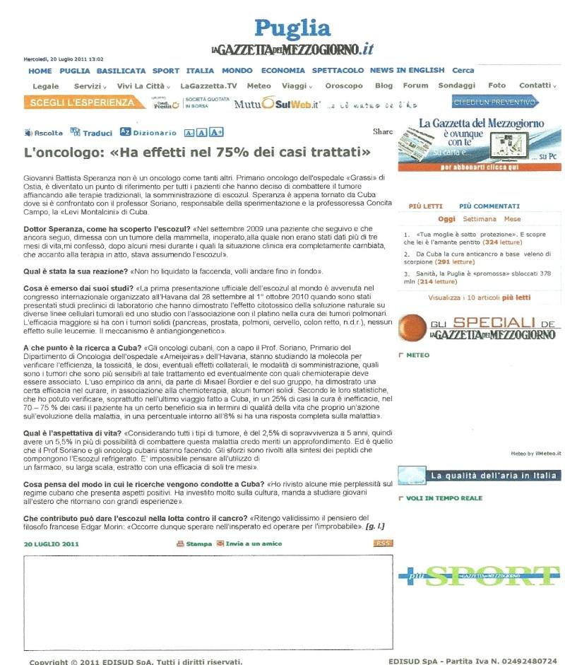ESCOZUL ,Oncologo SPERANZA : GAZZETTA DEL MEZZOGIORNO Speran12