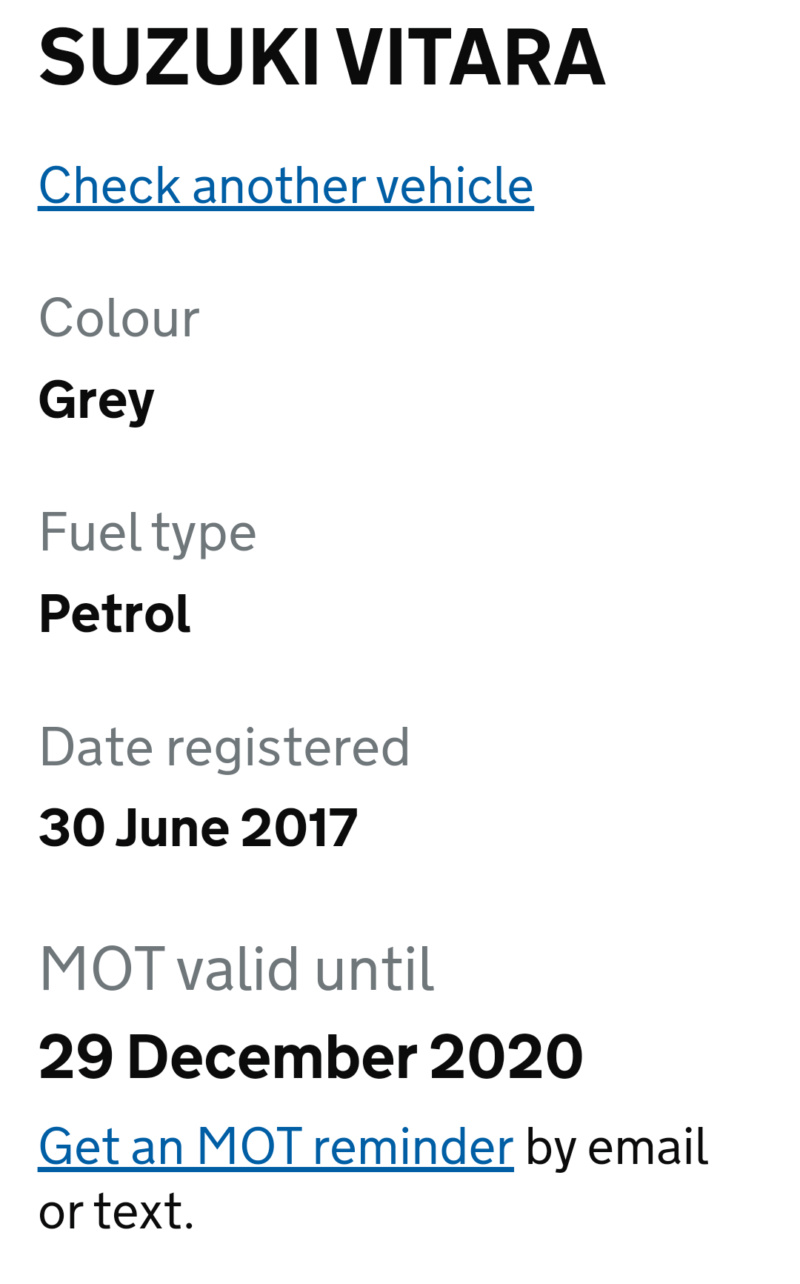 1st MOT Inspection due date & expiry Screen51