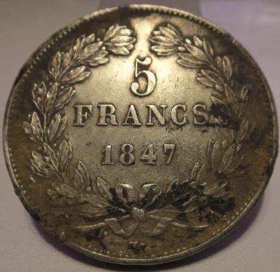 ECU LOUIS PHILIPPE I . 5Fr 1847 Sans_132