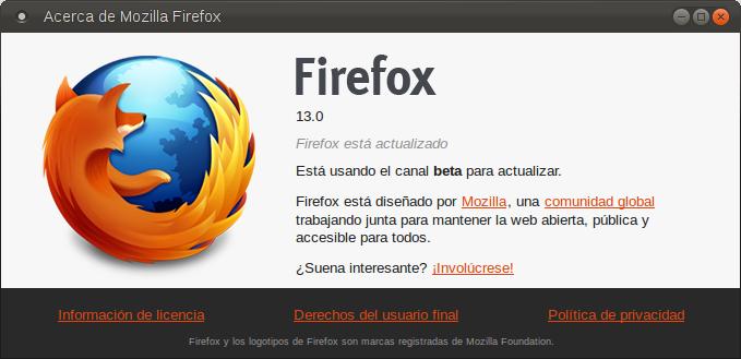Firefox Beta 12 y 13  Firefo12