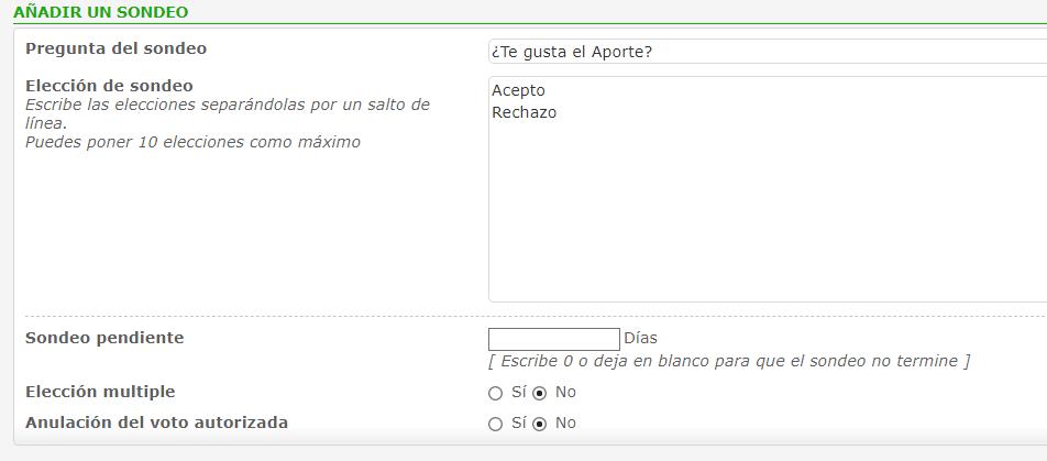 Cómo crear Encuestas/Sondeos Poll310