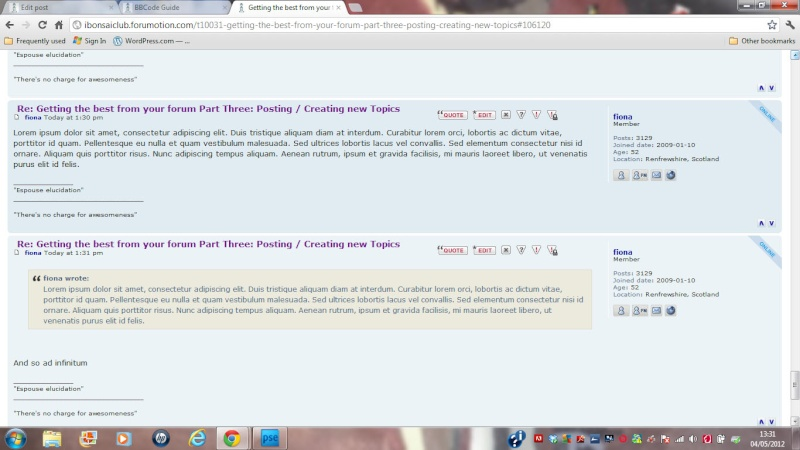 f. Getting the best from your forum Part Three: Posting / Creating new Topics Quoted10