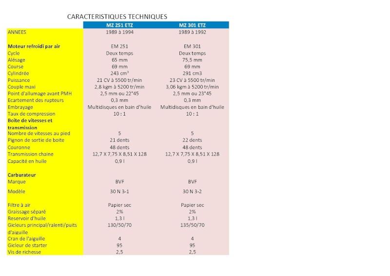 Caractéristiques Principales des versions 251 et 301 Etz_2512