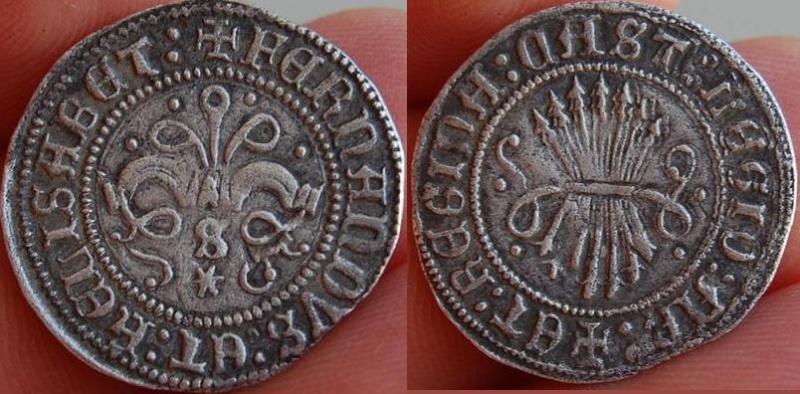 1/2 Real a nombre de los Reyes Católicos. Sevilla. Falsificación de Remoneda. 220