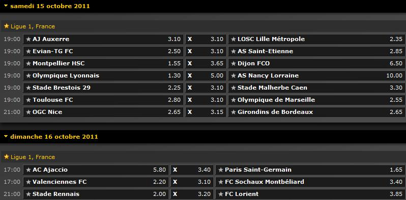 Pronostics 10ème journée de Ligue 1 : Auxerre - Lille // Lyon - Nancy // Toulouse - Marseille // Ajaccio - PSG // Rennes - Lorient // Montpellier - Dijon // Evian - Saint Etienne... Screen50