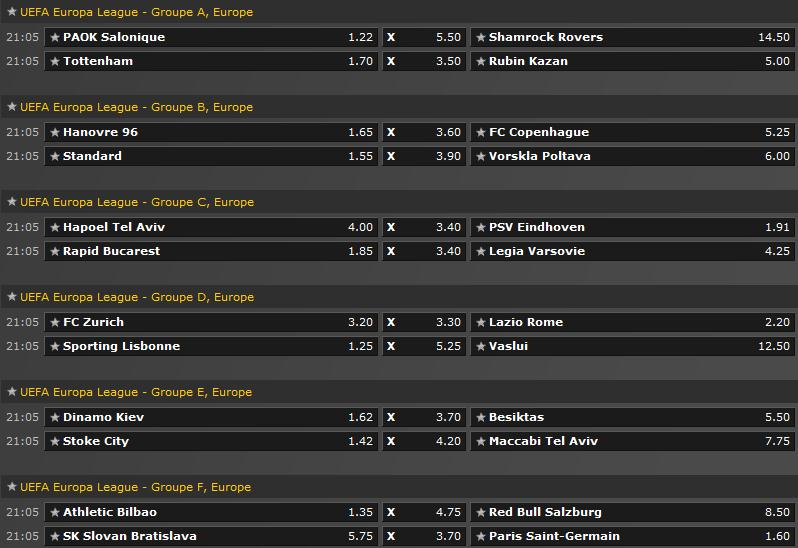 Pronostics Phases de groupe Europa League Screen57