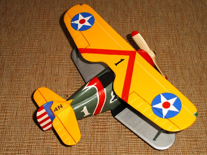 Deko-Flugzeug aus Holz Yellow10