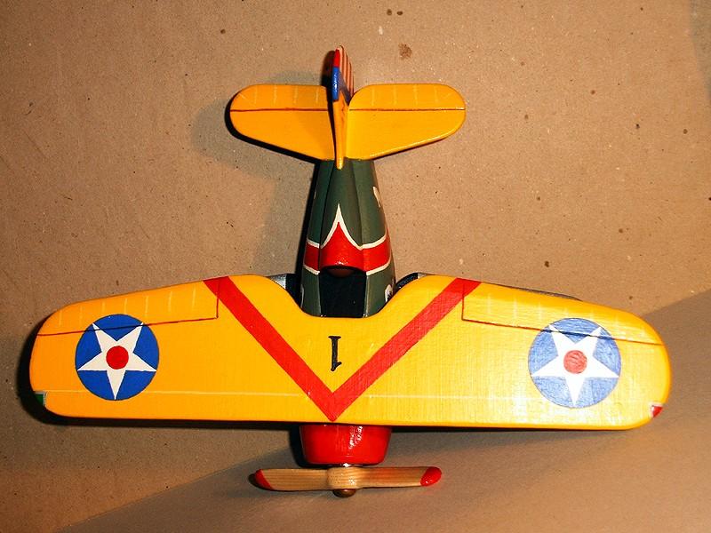 Deko-Flugzeug aus Holz Yellow15