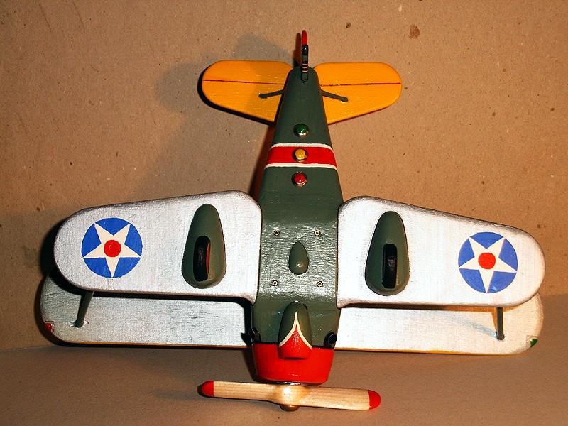 Deko-Flugzeug aus Holz Yellow16