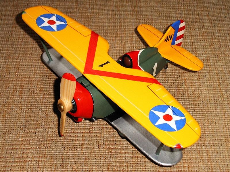 Deko-Flugzeug aus Holz Yellow17