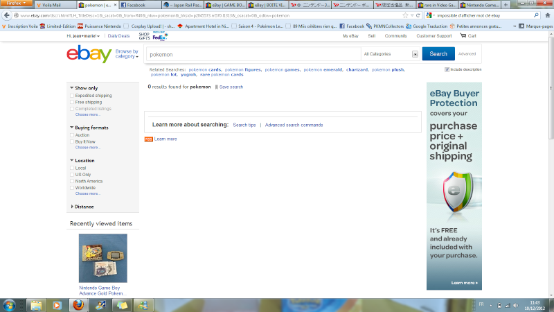 problème ebay.com rien ne s'affiche avec un simple mot clé???!! Lkjh10