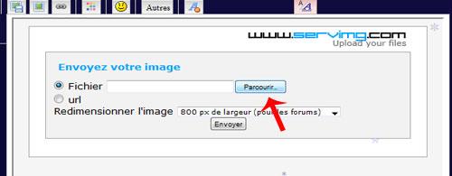 Pour insérer une image directement depuis le forum Sans-t14