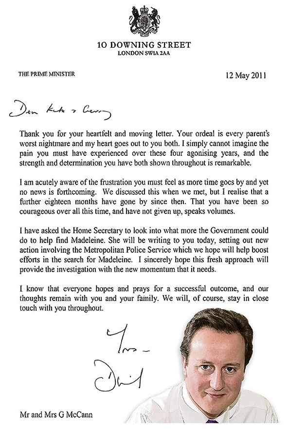 The McCanns letter from our very friendly Prime Minister Camera17