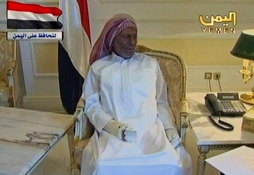 صالح في اول ظهور له بعد تعرضه لمحاولة الاغتيال يؤكد استعداده للمشاركة في الحكم مع المعارضة 3f477d10