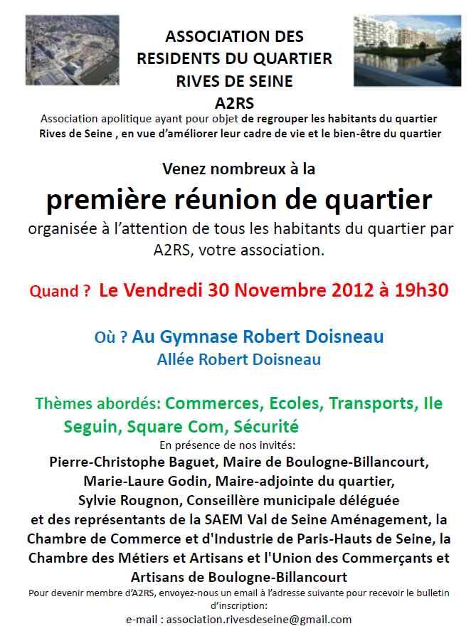 Réunion de quartier organisée par l'association A2RS le 30 novembre 2012 Reunio11