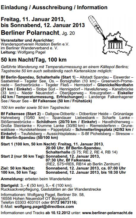 Berliner Polarnacht: 100km à Berlin (D): 11-12 janvier 2013 Berlin11