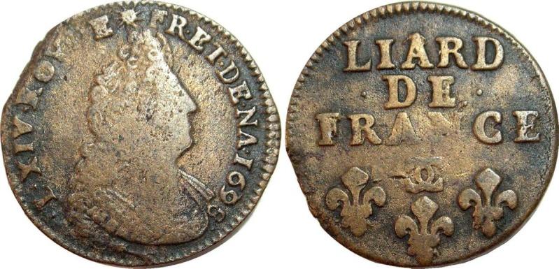 Liard au buste agé Louis XIV 1698 Besançon Liard-10