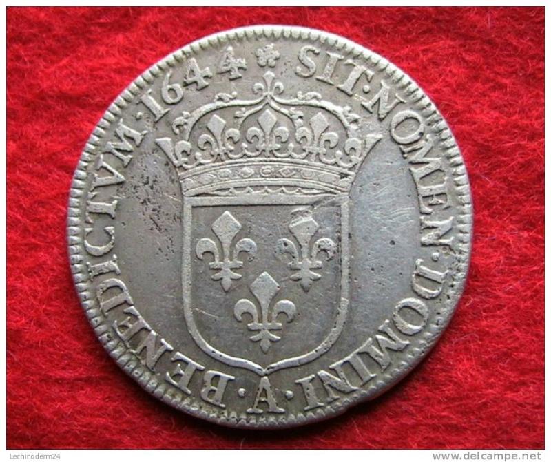 Quart d'écu louis XIV 1644A à la mèche courte Quart_11