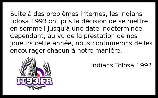 Mise en sommeil Indians Tolosa 1993 Commun11