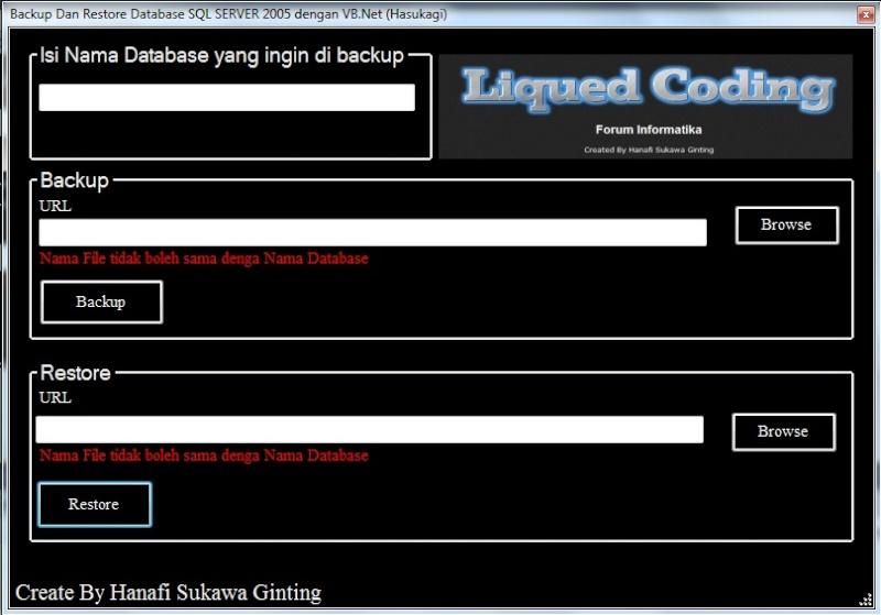 Backup Dan Restore Database SQLSERVER2005 dengan VB.Net Backup10