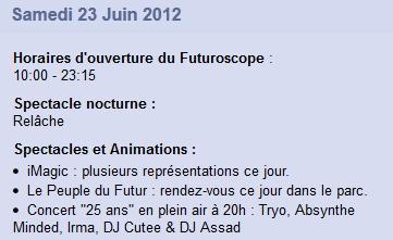 Concert des 25 ans du Futuroscope / Alouette - 23 juin 2012 - Page 6 Progra10