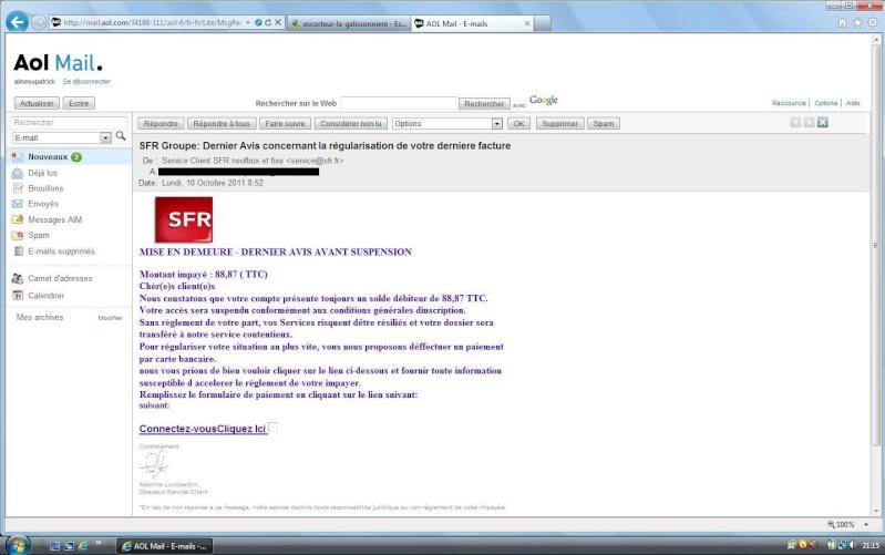 mail frauduleux Sfr10